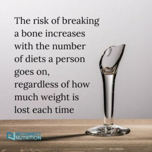 "A broken wine glass on a table with the words ""the risk of breaking a bone increases with the number of diets a person goes on, regardless of how much weigh is lost each time"""